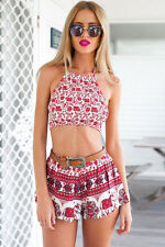 Sexy Womens Boho Cherry Red Pattern Two-piece Shorts Set Size 10-12
