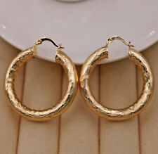 18K Gold Filled - 1.7'' Crude Tube Multilayer Wave Carved Circle Party Earrings