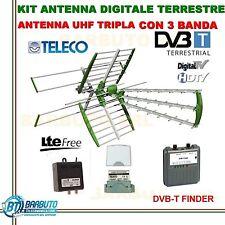KIT ANTENNA TV COMBO 3-4-5 BANDA+ALIMENTATORE,AMPLIFICATORE E PUNTATORE SEGNALE