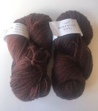 Mineville Wool Project Yarn Lot of 2 Skeins Plumish Purple Brown 180M 100G