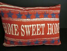 "Patriotic ""Home Sweet Home"" Red Throw Pillow, NWT"