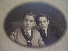 Vintage Pre -1920 Silver Print ~ Un Identified Studio Card  ~ Boy Youth Pair