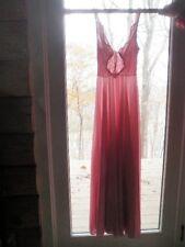 "VTG Olga Pink Chevron Lace FULL Sweep BODYSILK Nightgown 36"" Bust M 9687 Qh"