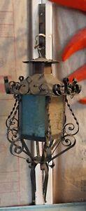 Vintage Arts & Crafts Copper Slag Glass Porch Light Lantern Gothic Victorian