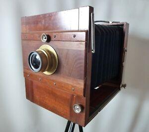 ANTIQUE Wunsche?Wooden plate camera 13x18cm+DAGOR C.P.GOERZ Lens+2 plate holders
