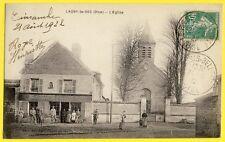 cpa Rare LAGNY le SEC (Oise) L'EGLISE Café Marchands de VINS Maison VOLKAERT