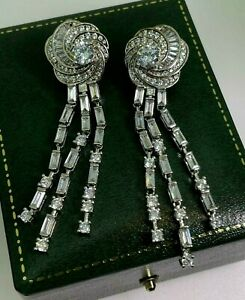 Impressive 1940's Style Cubic Zirconia Sterling Silver Pendant Cluster Earrings