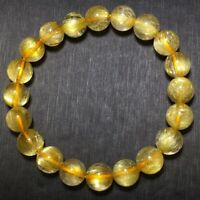 9.3mm Natural Gold Rutilated Quartz Stretch Crystal Beads Bracelet AAA