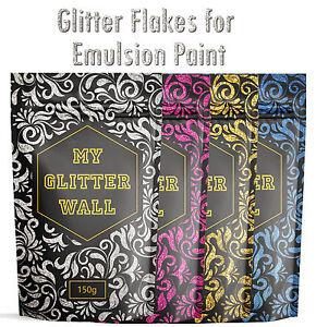 Glitter wall paint Additive for emulsion Bedroom Kitchen walls wallpaper 150Gram