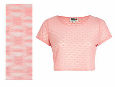 Women's Ladies Fashion Summer Pink Chelsea Girl Textured Lace Crop Top 8 34