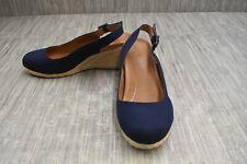 Vionic Coralina Slingback Espadrille Wedge Sandal, Women's Size 9W, Navy NEW