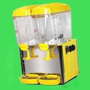 110V/220V 18L*2 Tank Frozen Hot Cold Drink Beverage Milk Juice Dispenser Machine