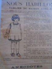 """PATRON ORIGINAL  POUPEE """" BLEUETTE """" TABLIER  DE MAISON MARS 1921"""