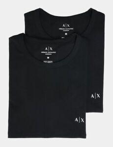 Armani Exchange Men's  2-Pack Logo Crewneck T-Shirt Black Size XS