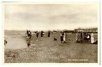 Antique RPPC real photograph postcard The Sands Waterloo people on beach