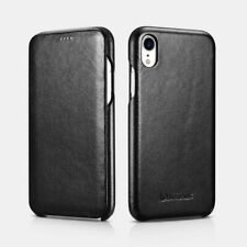 iPhone Xr Curved Edge Series Luxury Leather Case Real Black