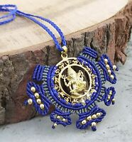 Ganesha Charm Macrame Mandala Tribal Bohemian Necklace Brass Pendant Jewelry