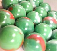 "Glass Marbles 1"" in 25mm Shiny Green w/multi colored swirls 12oz 20 PCS M245"