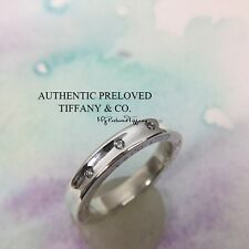 Authentic Tiffany & Co. 1837 Triple 3 Diamond Stacking Band Ring Retired #5