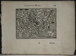 SAVOY BURGUNDY FRANCE & ITALY 1602 ORTELIUS UNUSUAL ANTIQUE MINIATURE MAP