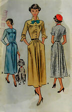 Vtg 1949 Lovely Softly Tailored  Day Dress Pattern McCall's 7821 Size15 Bust 33