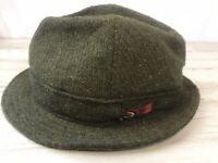 Donegal Tweed Hand Woven Wool Hat, Irish Fedora Size 7 O'Gorman & Son Green