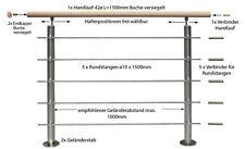 AG4 Alu / Holz ( Buche) Geländerset Bodenmontage Geländer Treppengeländer 1,5m