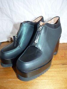 Stephane Kelian Zip Platform Wedge Black Green Platform Shoes size Eur 39 UK 6