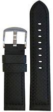 20mm Panatime Black Carbon Fiber Style Watch Band w Black Stitching 20/18 125/75