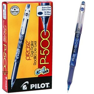 Pilot P500 Extra Fine 38601, Blue Ink, 0.5mm Precise Gel Roller Pen, Box of 12