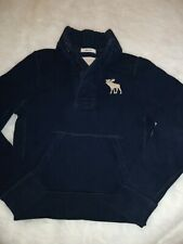 Abercrombie Fitch Boys Youth Size Navy Blue Pull Over 3Button Shirt Small 7-8