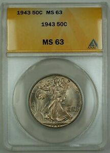 1943 Walking Liberty Silver Half Dollar ANACS MS-63 Lightly Toned