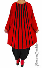 AKH LAGENLOOK Tunika Long Shirt XL-XXL-XXXL rot schwarz 44 46 48 50 52 54 56 58