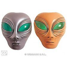 ALIEN MASK PLASTIC SILVER OR BEIGE Accessory for UFO Space Villian Fancy Dress