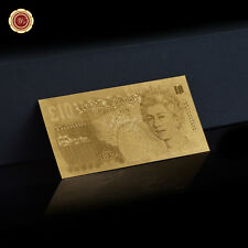 WR British Ten Pound Paper Note Old English Banknote Collection Gifts 24K Gold