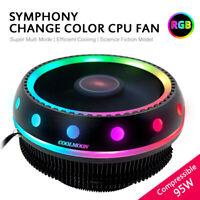 RGB LED CPU Cooler Fan Aluminum Heatsink For Intel LGA 1156/1155/775 AMD AM4/FM2