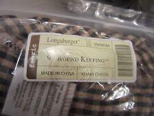 "Longaberger 9"" Round Keeping Basket Liner Khaki Check Fabric"