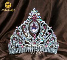 Handmade Large Pink Crystal Wedding Bridal Full Crown Tiaras Pageant Prom 374g