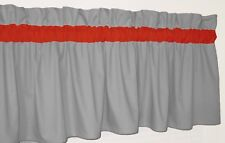 Solid Gray and Red Window Curtain Valance Bath Bedroom Kids Kitchen School Dorm