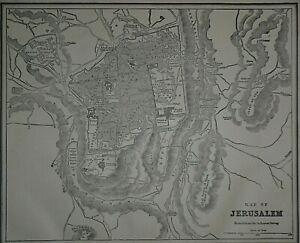 Vintage 1893 Atlas Map ~ JERUSALEM - PALESTINE ~ Old & Authentic ~ Free S&H