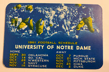 University of Notre Dame 1961 Football & 1961-62 Basketball Pocket Schedule