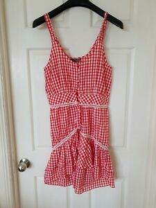 BEBE SYDNEY Red White Checked Country Style Dress Size S C48
