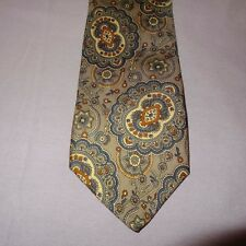 "Tie Necktie Paisley Flowers Gray Blue  58"" All Silk Sheaf Caber  Made in U.S.A."