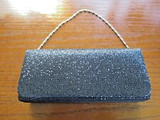 ECOSUSI Black Sparkle Flap Evening Bag Hard Case Clutch Handbag Purse