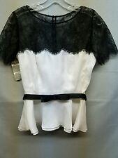 FRASCARA Black / White Bow Belt Lace  Elegant Blouse Top .NWT  Sz.6  Ret: $ 740
