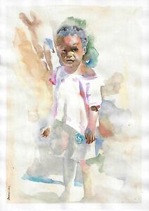 original painting A3 118FD art samovar modern Watercolor child Signed 2021