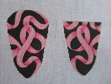 Needlepoint Canvas Pink Ribbon Scissor Case with Bead Fob by Associated Talents