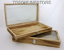Rustic Wood Glass Top Display Cases Antique Antique Oak Color Package Of 2
