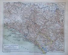 1888 BOSNIEN UND MONTENEGRO historische Landkarte Lithographie antique map
