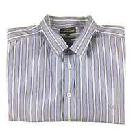 Rodd & Gunn Men's Long Sleeve Purple Striped Button Shirt Italian Fabric Size L